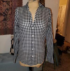 Vintage J. Crew XS black & white check button down